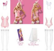 Obsessive Lingerie [ UK 12 - 14 ] 'Perky Bunny' Pink Fancy Dress Outfit (E26720)